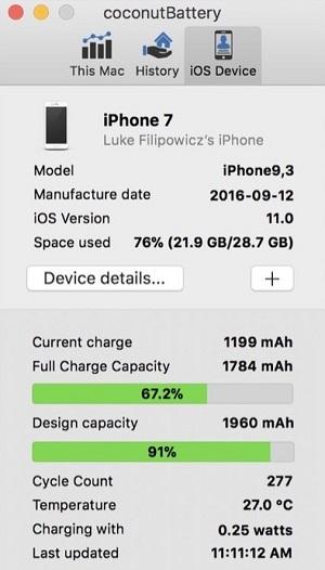 Приложение CoconutBattery для iPhone